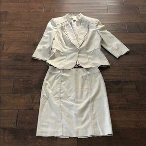 WHBM Light Tan Suit. EUC. Size 10/8.